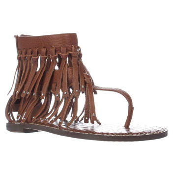 Sam Edelman Griffen Gladiator Fringe Sandals, Saddle Leather, 6 US / 36 EU