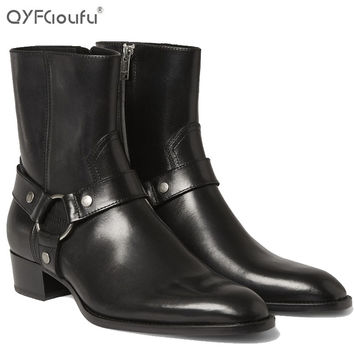 italian brand chelsea boots men 2016 Genuine Leather fashions mens ankle boots Shoe black zipper high heel boots for men 7-12
