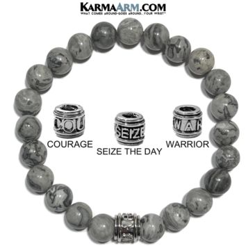 Mantra Motivation Bracelet | Silver Crazy Lace Agate | COURAGE | SEIZE THE DAY | WARRIOR Jewelry