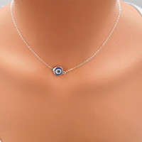 Evil Eye Necklace, Sterling Silver Chain, Dainty Necklace, Evil Eye Pendant, Silver Necklace, Delicate, Bridesmaid Gift