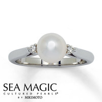 Akoya Cultured Pearl Ring with Diamonds 14K White Gold