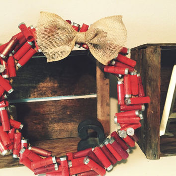 12 Gauge Red Shotgun Shell Wreath with Burlap Bow 18 inch wreath