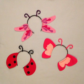 3 Bug Theme Headbands wings birthday party favors supplies decor costume hat antennae antenna wing adult child children baby babies kid