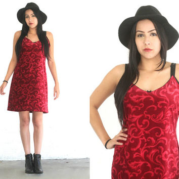 Vintage VELVET Red Victorian BAROQUE Print Slip Dress // Babydoll Shift // Sleeveless // Hipster Grunge Boho Gypsy // Small / Medium