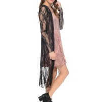 Black All Lace on Me Open Front Long Sleeve Kimono | $10.00 | Cheap Trendy Cardigans Chic Discount
