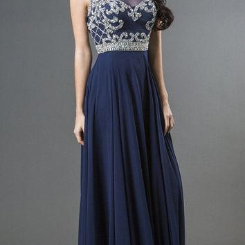 Sleeveless Long A-line Prom Gown Cut-Out Back Navy Blue