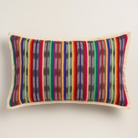 Oversized Multicolor Stripe Woven Lumbar Pillow