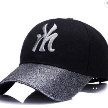 New York City Hat - Adjustable Black and Silver New York City NYC Cap