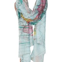 Map Print Scarf - Scarves  - Bags & Accessories