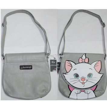 "Licensed cool Loungefly Disney The Aristocats MARIE Cat Grey Saddle Bag Flap Purse 11""x11 1/2"""