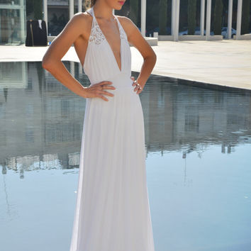 backless romantic wedding dress with embroidery and beads straps