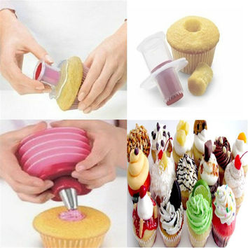 1 PCS Fashion Kitchen creative Cupcake Muffin Cake Corer Plunger Cutter Pastry Decorating Divider Model