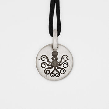 Octopus Charm Pendant in Sterling Silver