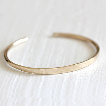 14k solid gold bracelet cuff with personalization