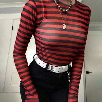 LMFMS9 T-shirts Women's Fashion Winter Long Sleeve Stripes Sexy Slim See Through Lace Bottoming Shirt [206228750362]