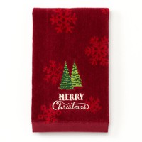 St. Nicholas Square ''Merry Christmas'' Fingertip Towel (Red)