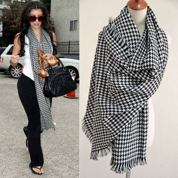 2016 winter male scarf female pullover warm wool knitted crochet classic houndstooth scarf winter scarf 80722