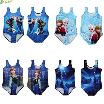 The Snow Queen Children Swimsuit Cartoon Princess Anna Elsa One Piece Swimwear Girls Bodysuit Olaf Swimming Beachwear Costume