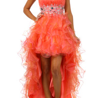Ruffle Organza High Low Prom dress