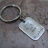 God Gave Me You Keychain Hand Stamped Boyfriend Husband Gift Personalized Handstamped Date Anniversary
