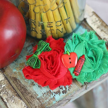 Back to School Bows, School Headbands, Apple Bows, Crayon Bows Headbands, Preschool Toddler Hair Accessories, Red and Green Bows Headbands