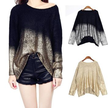 Bat Sleeve Scoop Loose Sequins Sweater