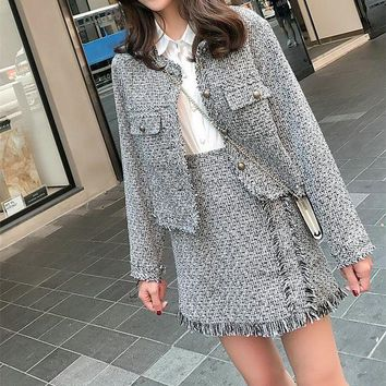 DCCKVQ8 Chanel' Women Temperament Fashion Multicolor Long Sleeve Suit Coat Tassel High Waist Short Skirt Set Two-Piece
