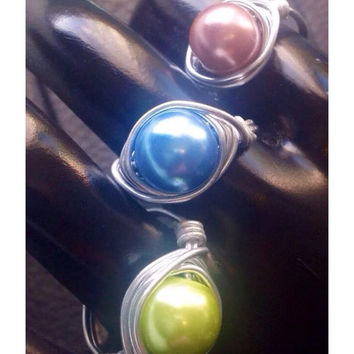 Handmade Pearl Ring Wire Wrapped Glass Pearl Ring - Wire Ring You Choose Bead - Custom Order