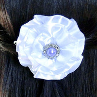 White Satin Hair Clip Lavender Pearl Hair Accessories Free Crochet Hat W/Purchase Girl's White Hair Flower Alligator Clip or Barrette