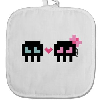 8-Bit Skull Love - Boy and Girl White Fabric Pot Holder Hot Pad