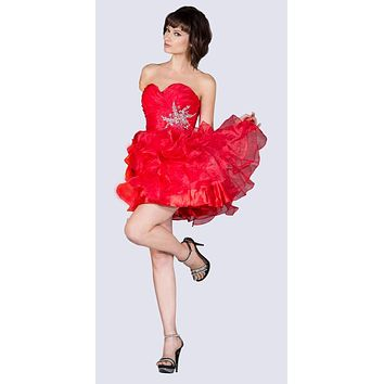 Short A Line Poofy Ball Gown Red Sweetheart Organza