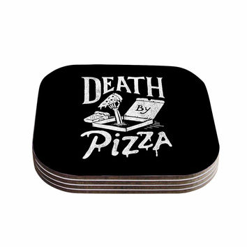 "Tatak Waskitho ""Death By Pizza"" Food Black Coasters (Set of 4)"