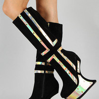 Black Qoors 16 Iridescent Studded Heel Less Knee High Curved Wedge Boot 7-11