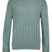 Green Mix Knit Cable Jumper - Men's Cardigans & Sweaters - Clothing