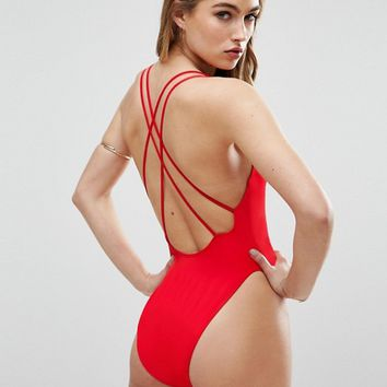 ASOS Cross Back High Leg Swimsuit at asos.com