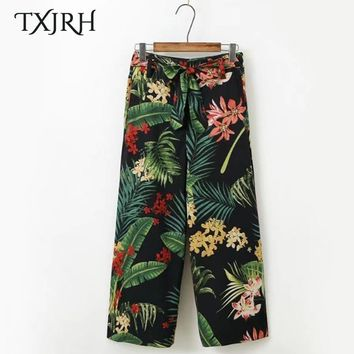 TXJRH Vintage Tropical Floral Leaf Print Wide Leg Pants Sashes Tied Bow Women High Waist Loose Trousers Casual Pants K17-04-09