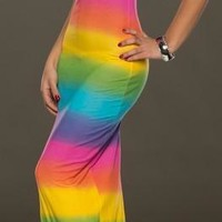 Rainbow Colored Slim Summer Maxi Dress