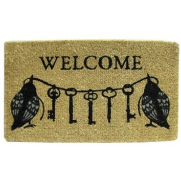 Welcome Doormat with Black Birds & Keys | Shop Hobby Lobby
