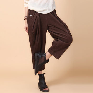 Corduroy pants for women plus size elastic waist spring autumn brown black loose wide leg pants trousers casual capris ayl0601