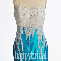 Long Ice Blue Lace Prom Dresses Beautiful Appliques Party Dresses Evening Dresses Cocktail Dresses 2014 Wedding Ocasions