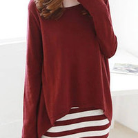 Red Long Sleeve Blouse with Striped Sundress
