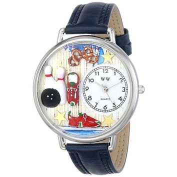 SheilaShrubs.com: Unisex Bowling Navy Blue Leather Watch U-0820005 by Whimsical Watches: Watches