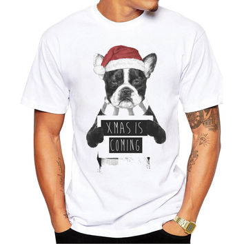 Christmas Bulldog Xmas Is Coming Mugshot Men's Short Sleeve Casual White T-Shirt