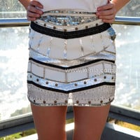 SPIRIT OF THE NIGHT SEQUIN SKIRT , DRESSES, TOPS, BOTTOMS, JACKETS & JUMPERS, ACCESSORIES, 50% OFF , PRE ORDER, NEW ARRIVALS, PLAYSUIT, COLOUR, GIFT VOUCHER,,White,Print,Sequin,MINI Australia, Queensland, Brisbane