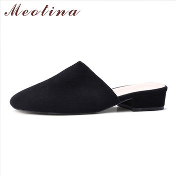 Meotina Women Mules Shoes Suede Leather Shoes Square Toe Ladies Low Heels Genuine Leather Thick Heels Causal Women Shoes Black