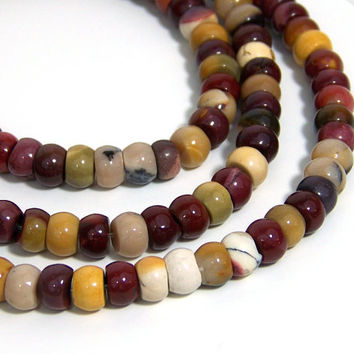 MOUKAITE JASPER beads, drum 8mm x 5mm gemstone, full strand (547S)