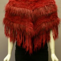 Metric -  Knit Scarlet Rabbit & Racoon Fur Multi-tone Poncho with Fringe