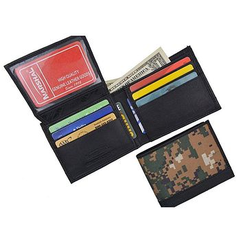 Men's RFID Blocking Premium Leather Camouflage Bifold Wallet With Fixed Flip Up ID Window Camo Military Design