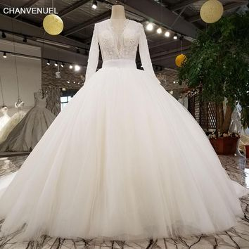 LS27790-2 2018 new bridal gown v-neck lace fashion  flower pattern beaded elegant long sleeve maxi wedding dress with long train