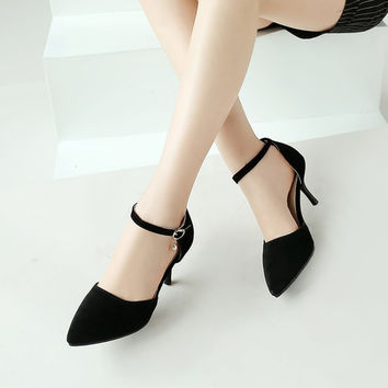 Pointed Toe Velvet Ankle Straps Stiletto Heel High Heels Sandals 1066
